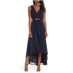 NEW Eliza J Wrap Look High/Low Chiffon Dress Navy